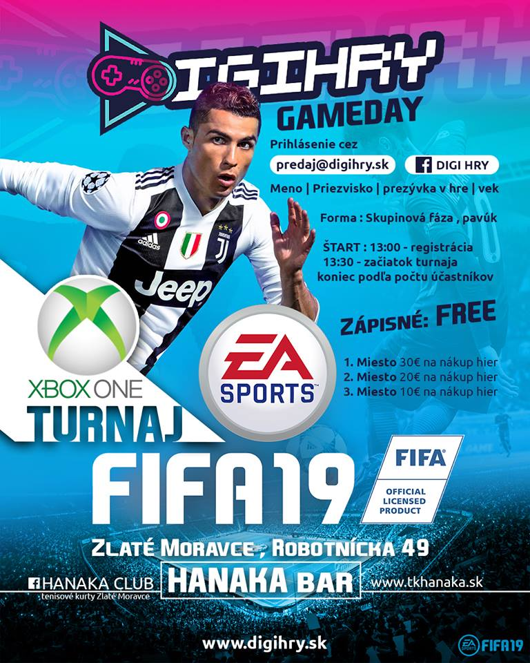 Digihry.sk usporadúva turnaj FIFA 19 na platforme XBOX ONE